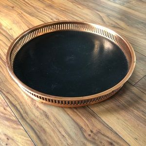 Vintage 70s Round Copper Trimmed Tray